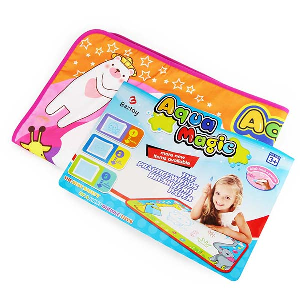 Baztoy Aqua Doodle Pad,Kids Toys Large Magic Water Doodle Drawing Toddlers Painting Board Writing Mat with 6 Colors 2 Magic Pens and 1 Brush for Boys Girls Educational Gift Size 34.5 X 22.5 Inches